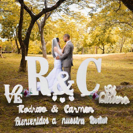 letras para boda fabricadas en corcho blanco